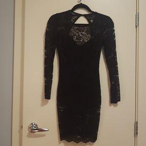 BEBE black lace-romper evening dress